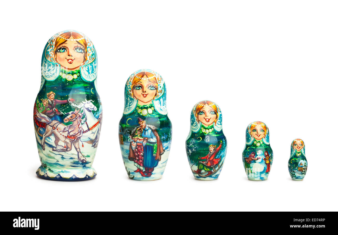 russian doll isolated - Stock Image