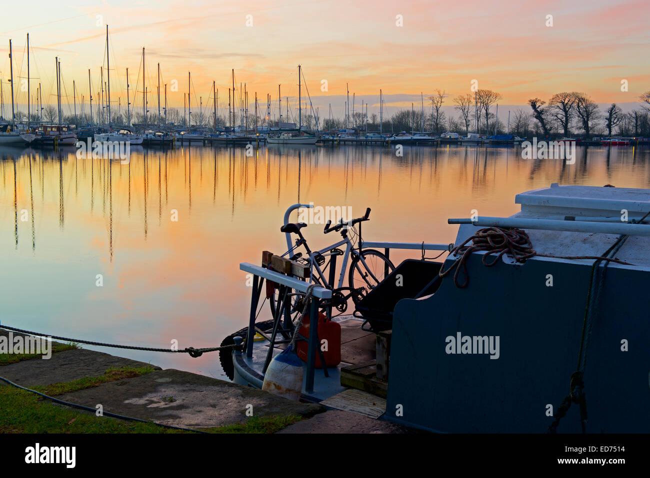 Bike on narrowboat, Glasson Dock, near Lancaster, Lancashire, England UK - Stock Image