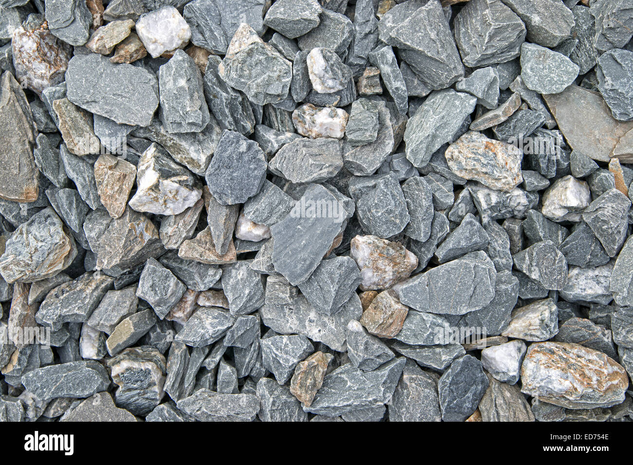 A very close view of stone ballast used between railroad ties Stock