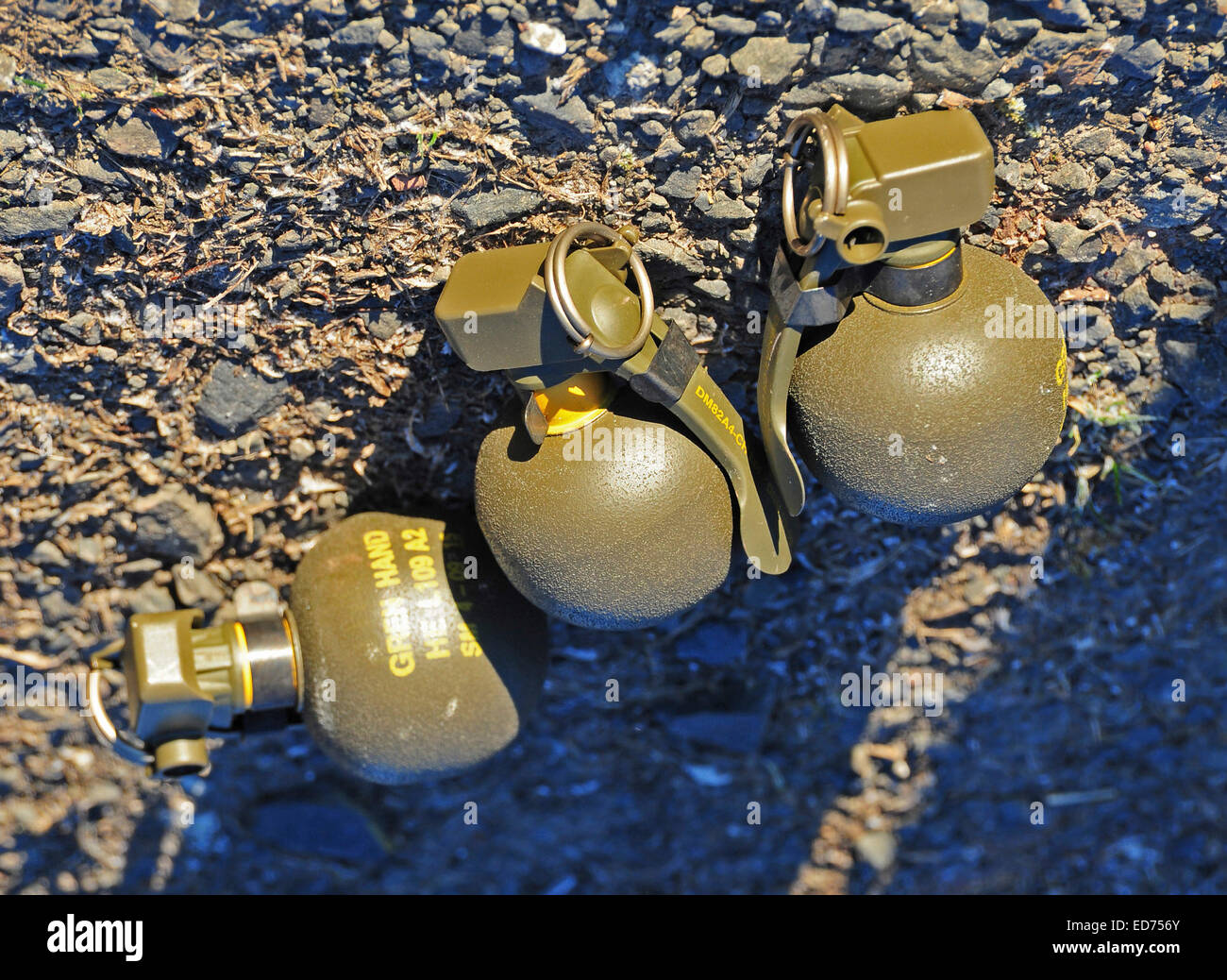British L2 hand grenades primed ready to use. - Stock Image
