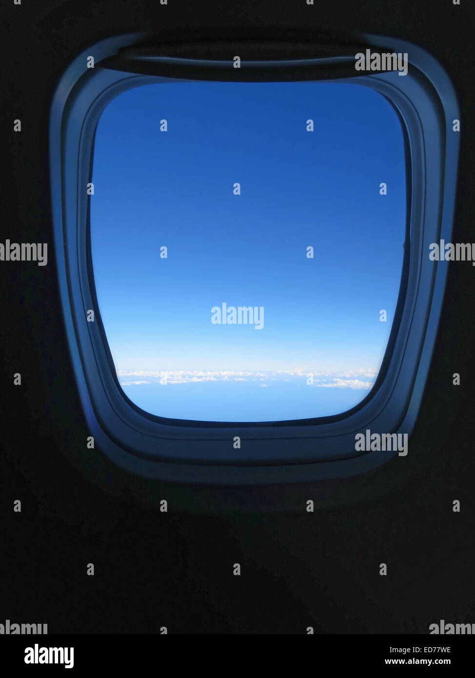 view from airplane window while in flight - Stock Image