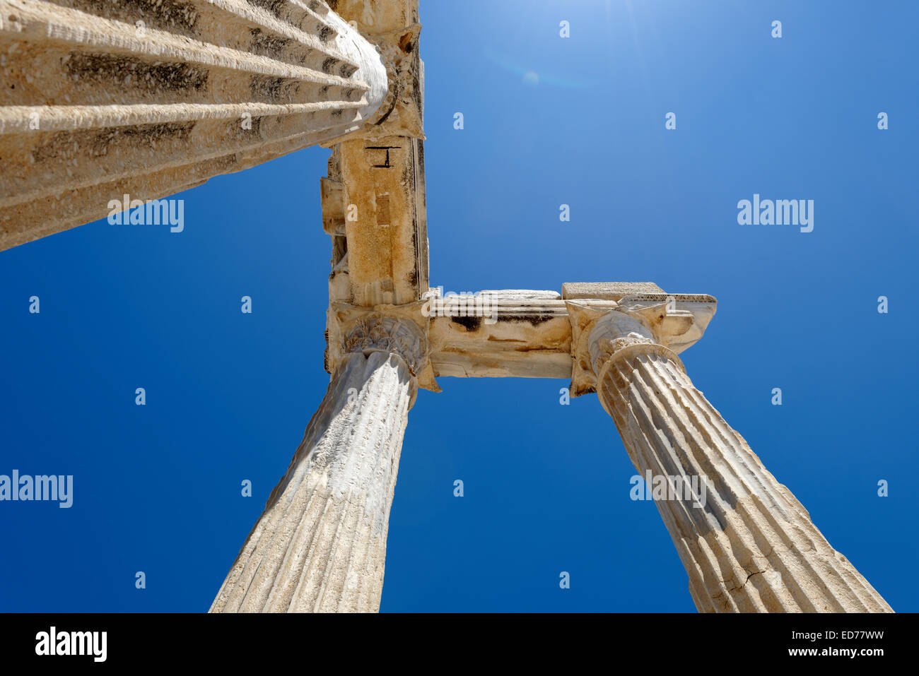 View of the re-erected columns and entablature of the Temple of Apollo Side. Antalya. Turkey. The temple was built - Stock Image