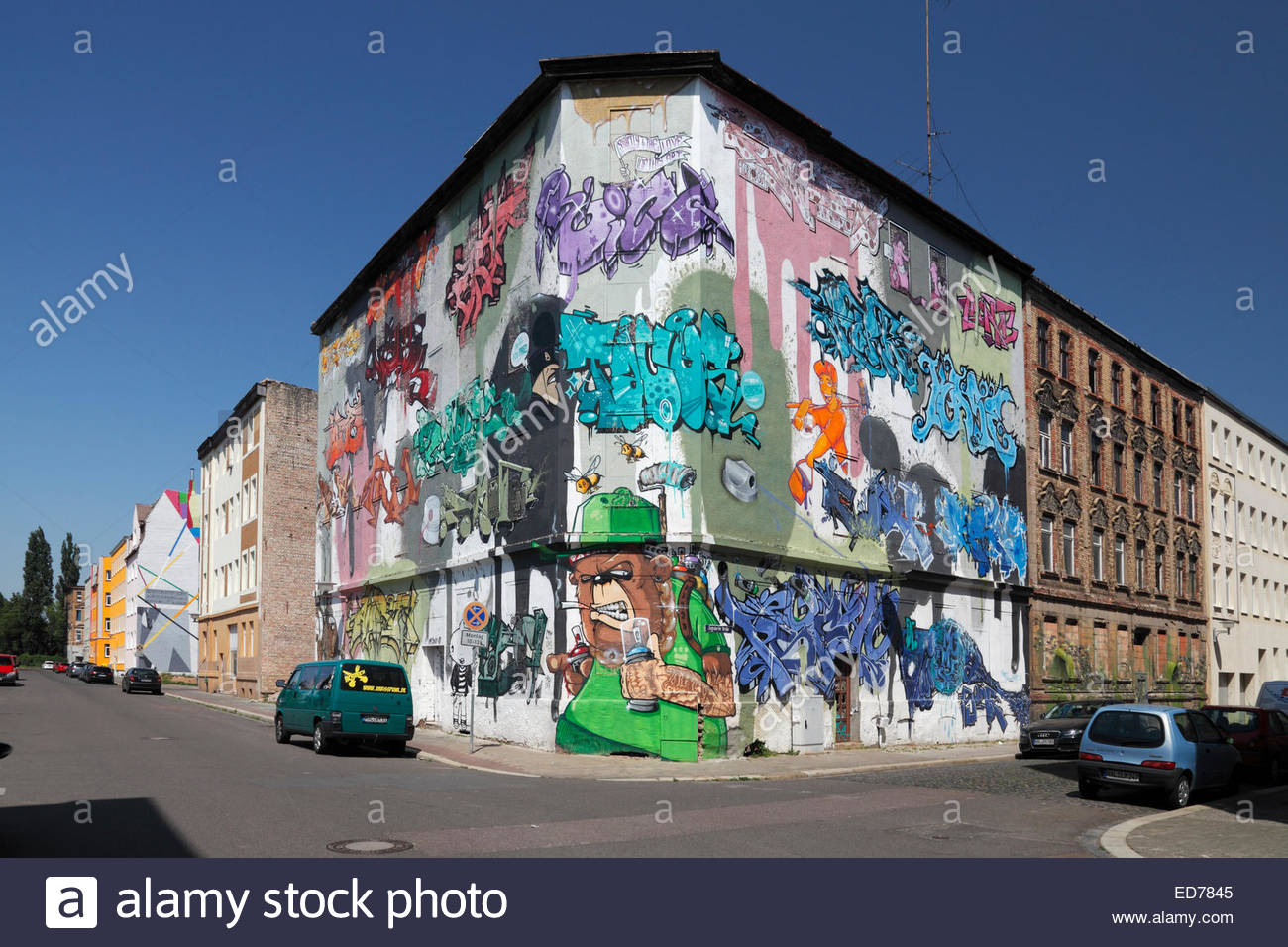 graffito art near the central station in Halle (Saale), Germany - Stock Image