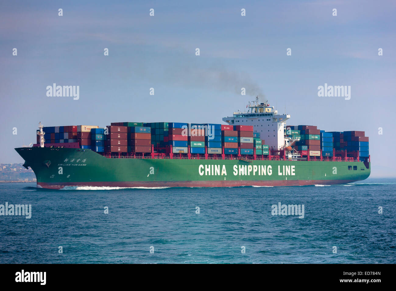 Bulk carrier freight container ship China Shipping Line in River Bosphorus and Sea of Marmara, Istanbul, Republic - Stock Image