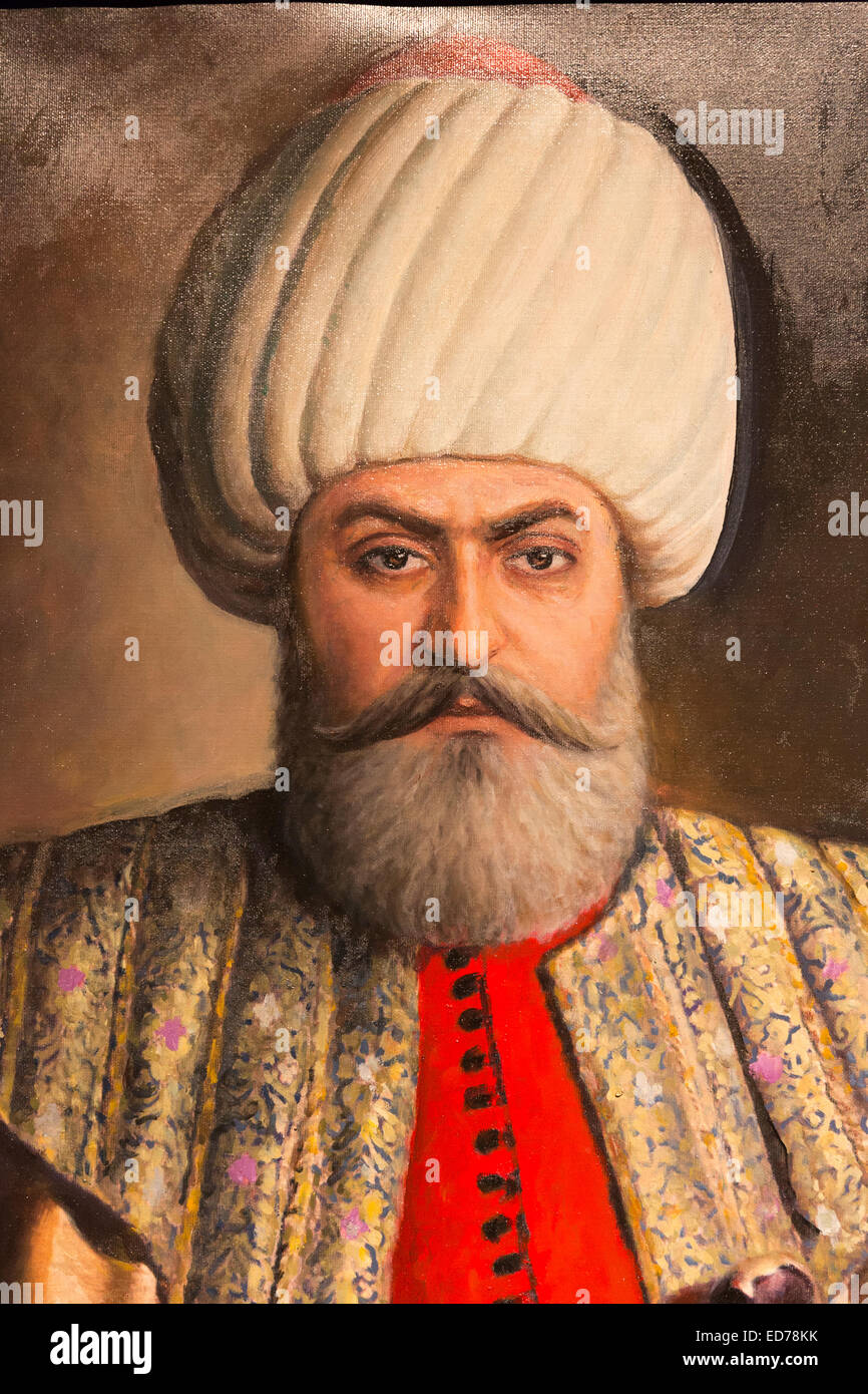 Portrait painting Sultan Osman Bey - Osman I or Osman Gazi - leader of Ottoman Empire at Military Museum, Istanbul, - Stock Image