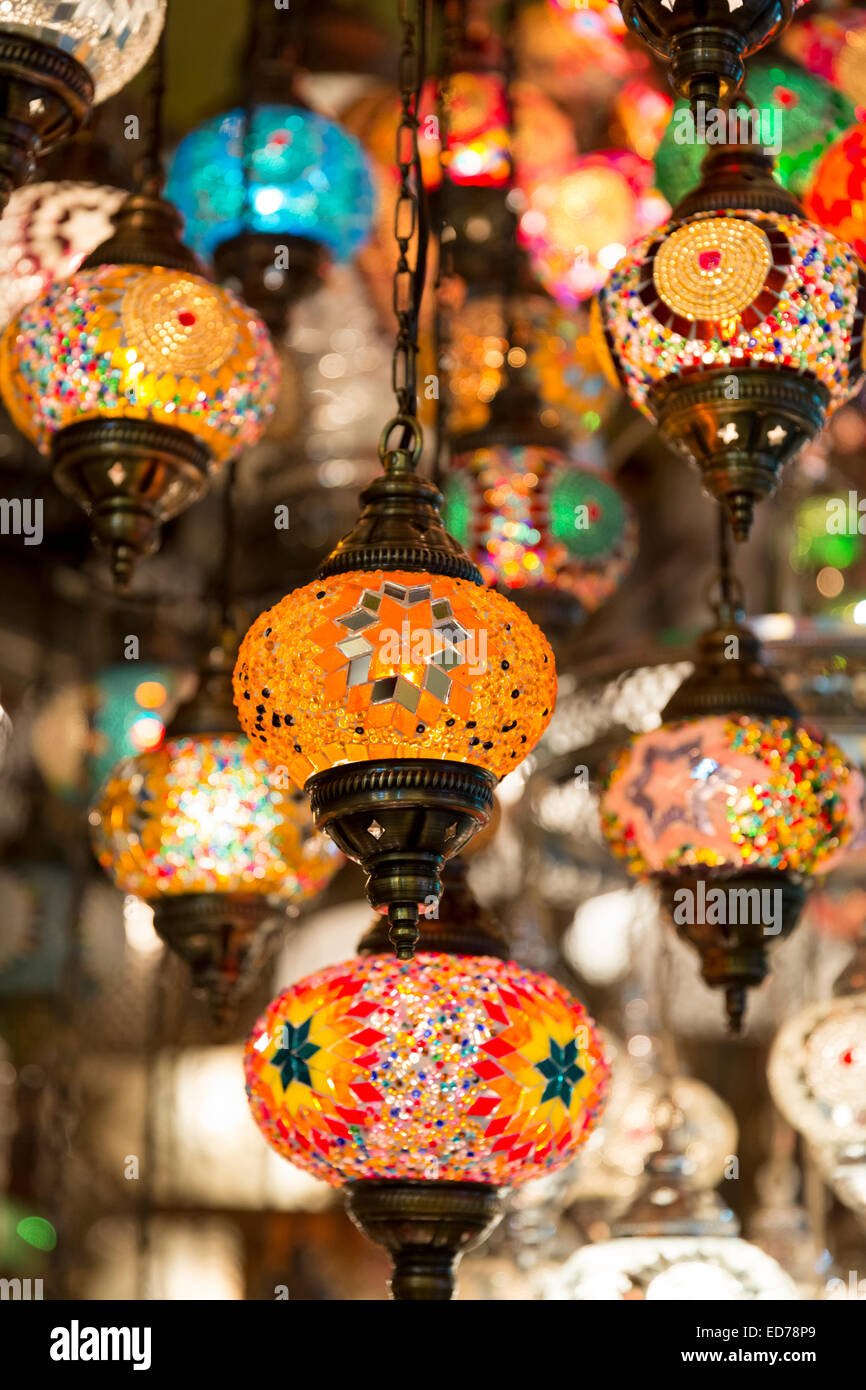 Ornate lamps lanterns inside The Grand Bazaar, Kapalicarsi, great market in Beyazi, Istanbul, Republic of Turkey - Stock Image