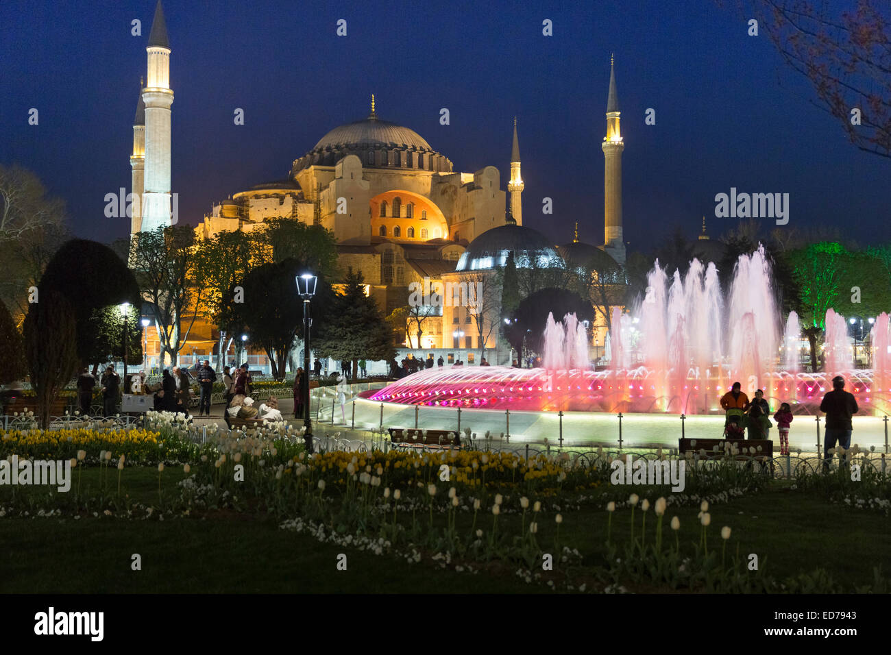 Hagia Sophia Muslim mosque museum and Atmeydani Hippodrome fountain floodlit at night, Istanbul, Turkey - Stock Image