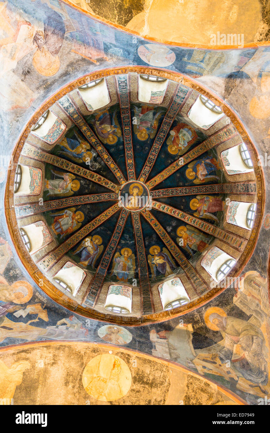 Church of St Saviour in Chora, Kariye Museum St Savior dome fresco madonna Virgin Mary and Christ Child, Istanbul, - Stock Image