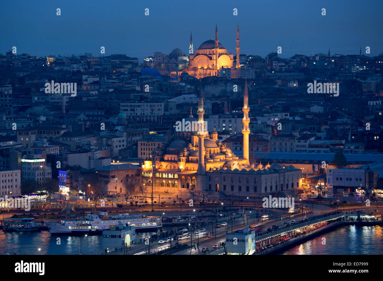 Skyline city scene Yeni Camii great mosque by Golden Horn of Bosphorus River and Hagia Sophia in Istanbul, Republic - Stock Image