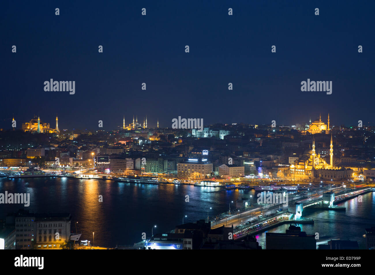 City scene Yeni Camii great mosque by Golden Horn of Bosphorus River, Topkapi Palace, Hagia Sophia Istanbul, Republic - Stock Image