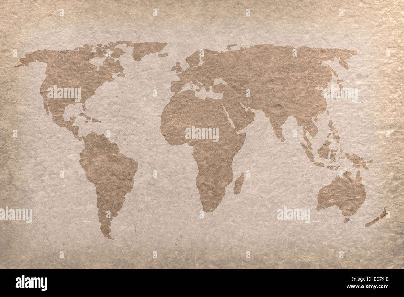 vintage world map on paper craft (map from NASA) - Stock Image