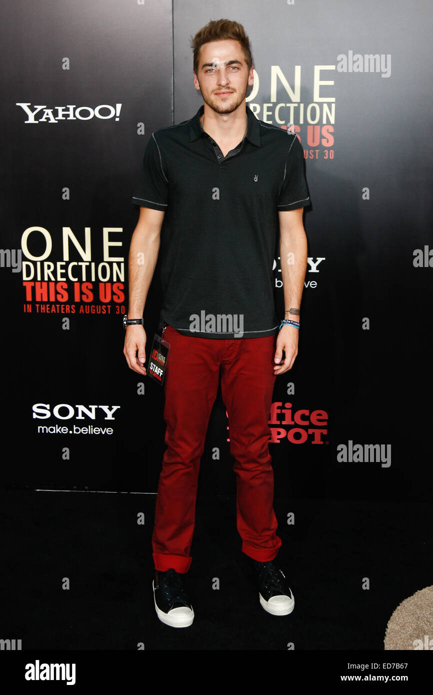 Singer Kendall Schmidt of Big Time Rush attends the New York premiere of 'One Direction: This Is Us' at - Stock Image