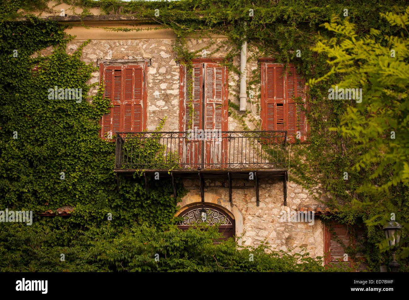 Abandoned house at Nafplion town. Argolis, Peloponnese, Greece - Stock Image