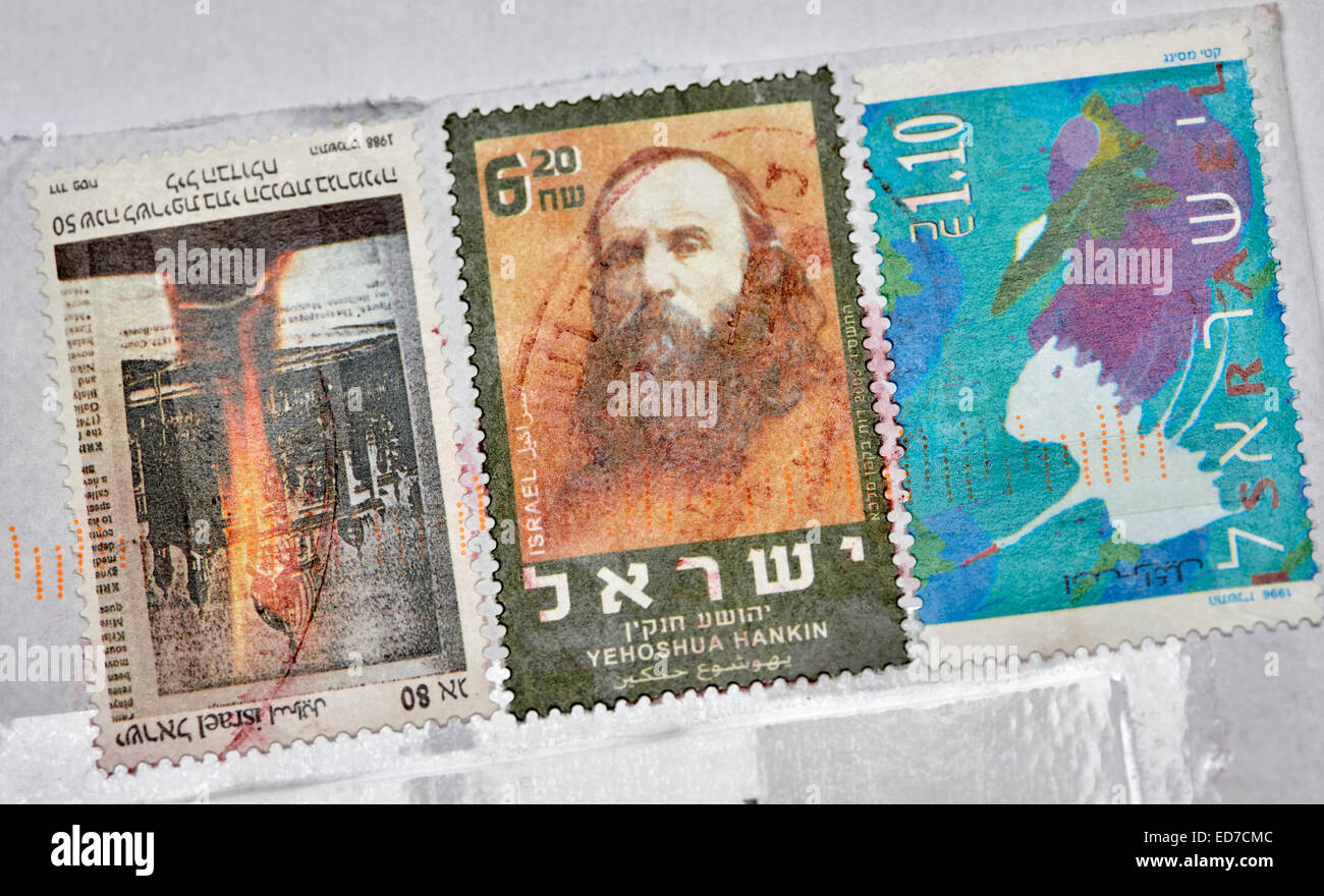 used israeli stamps on an envelope - Stock Image