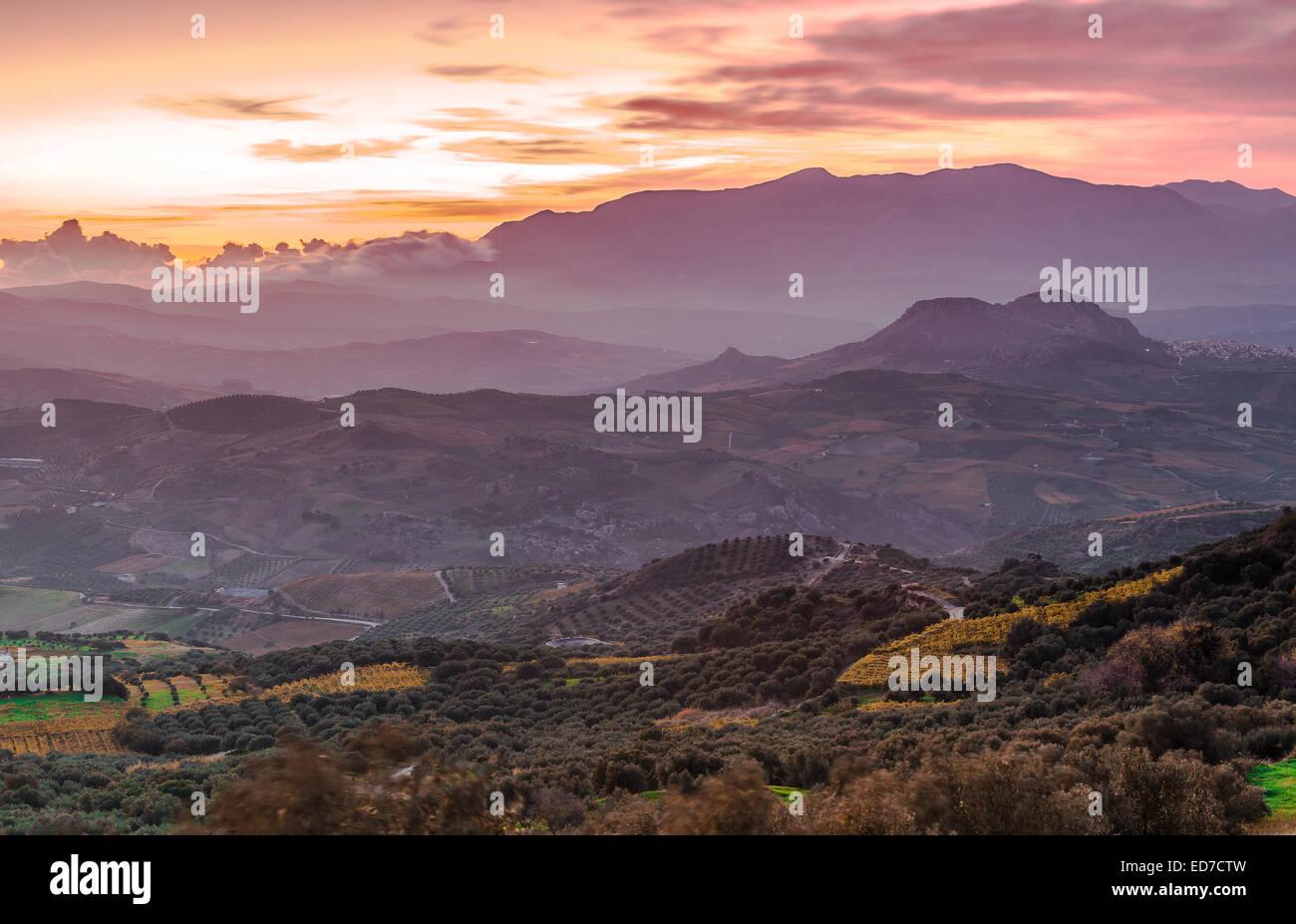 Landscape photo of Cretan villages - Stock Image