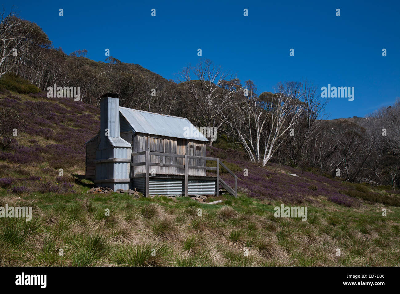 The Silver Brumby Hut, slab timber built, Mt Hotham in Victoria's Alpine Country Australia - Stock Image