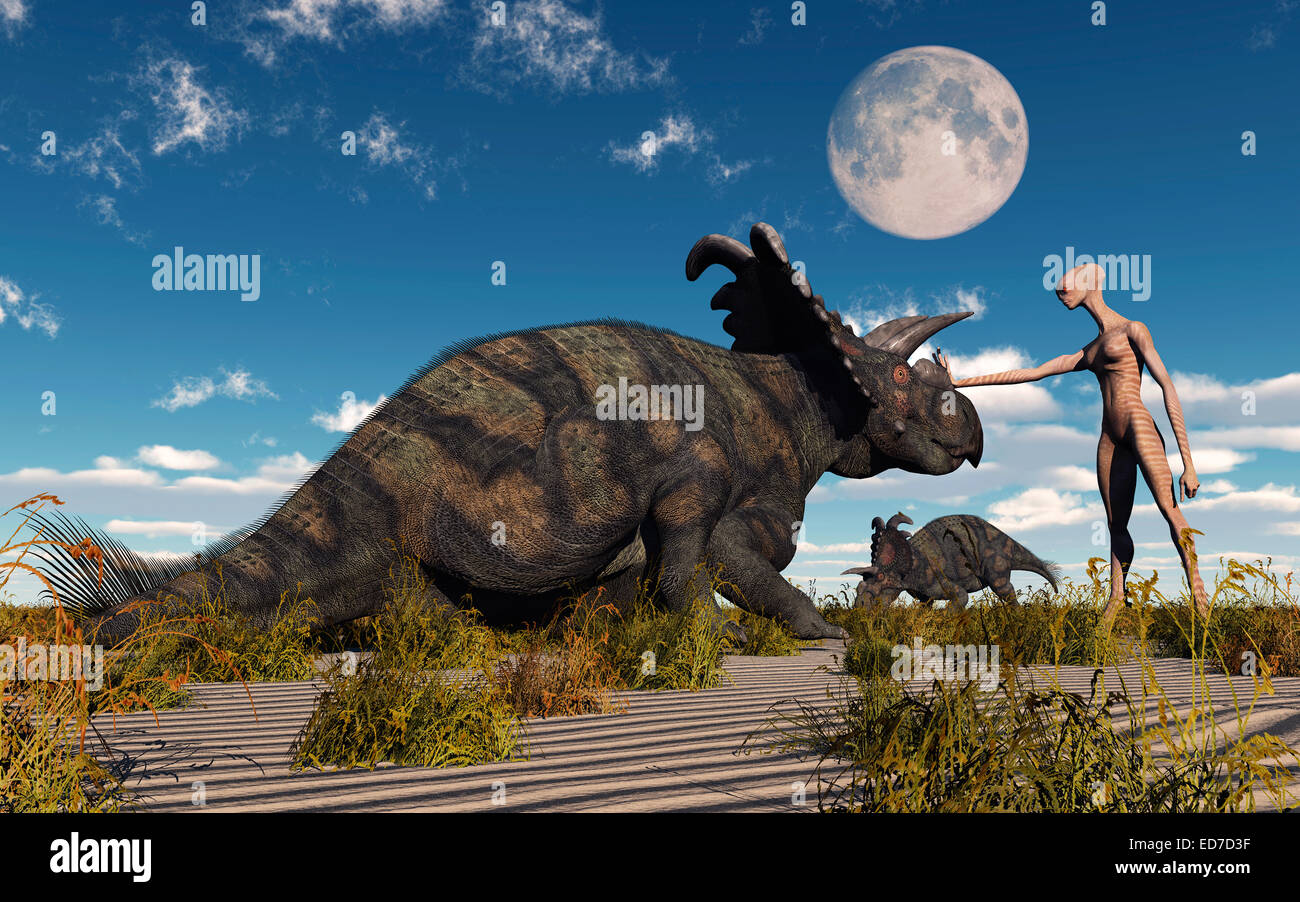 A Reptoid Being Using Telepathy To Communicate To A Albertaceratops Dinosaur. - Stock Image