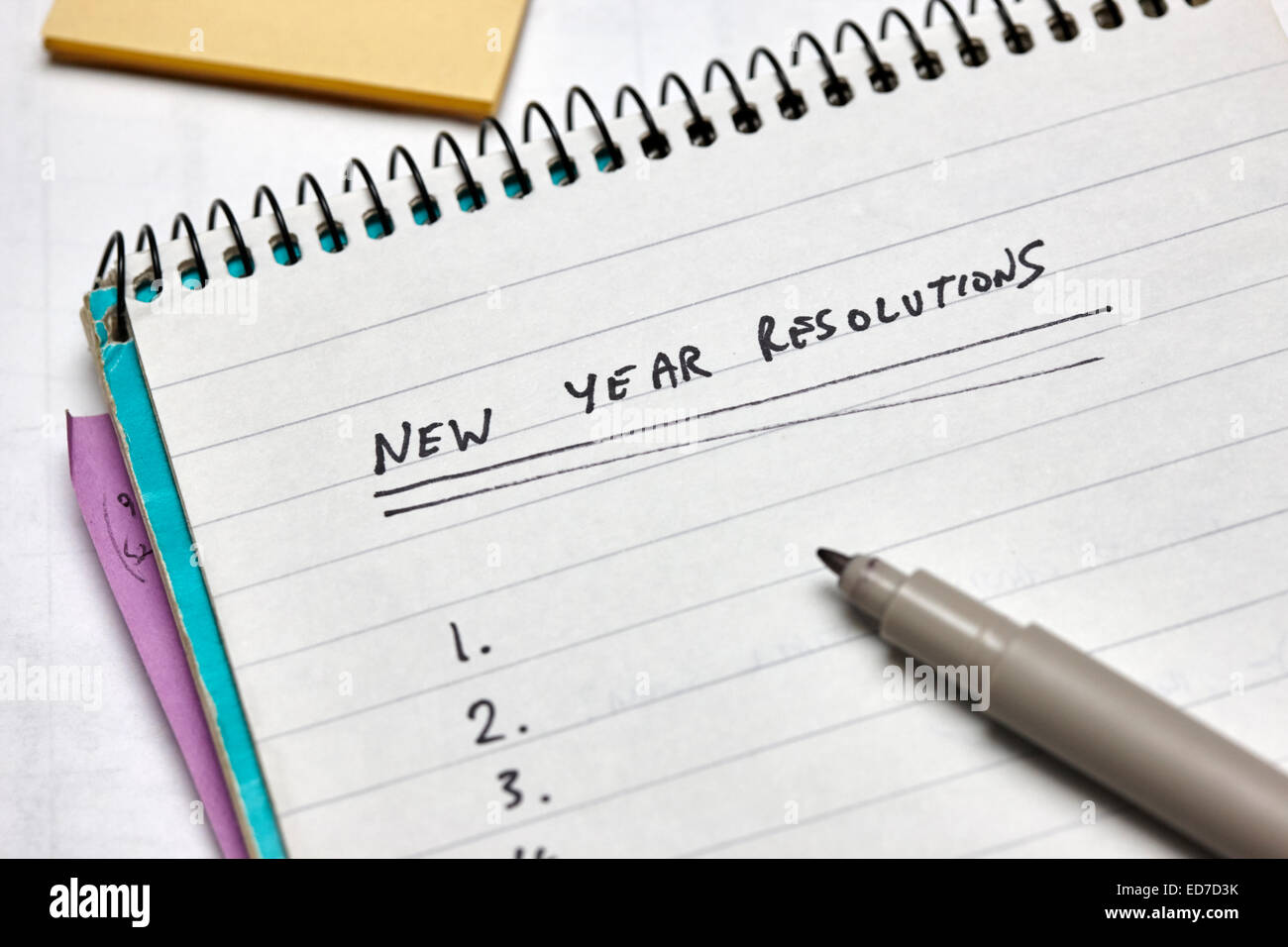 new year resolutions empty list - Stock Image