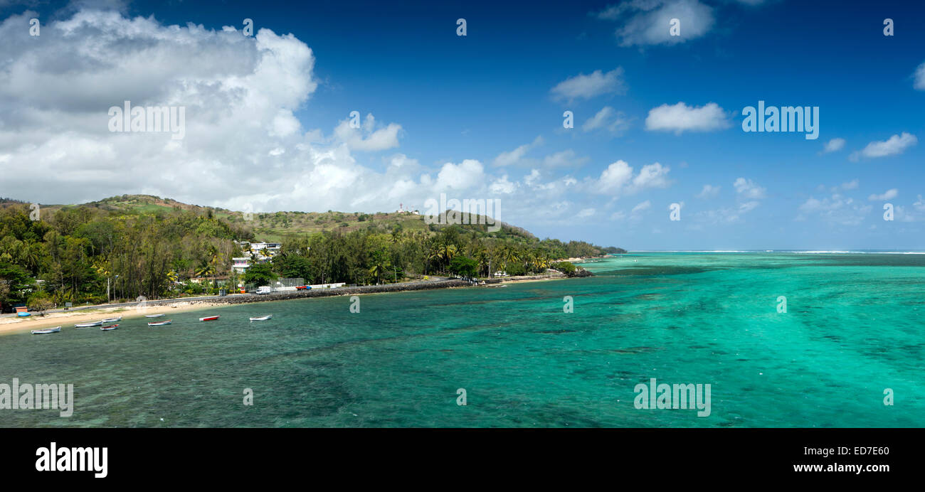 Mauritius, Baie du Cap, south coast from Maconde viewpoint, panoramic - Stock Image