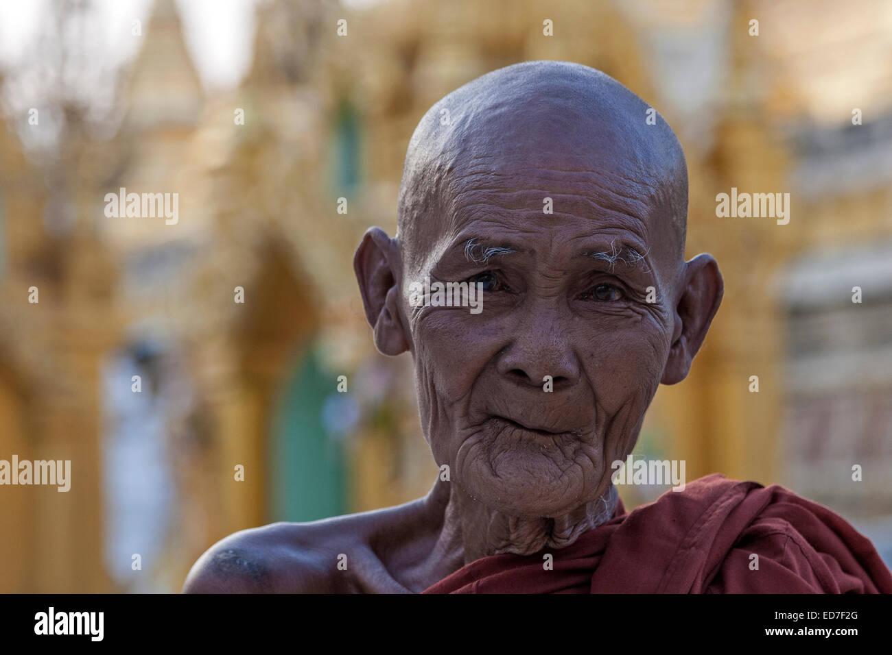 Old monk at the Shwedagon Pagoda, portrait, Shwedagon Pagoda, Great Dagon Pagoda or Golden Pagoda, Yangon, Myanmar - Stock Image