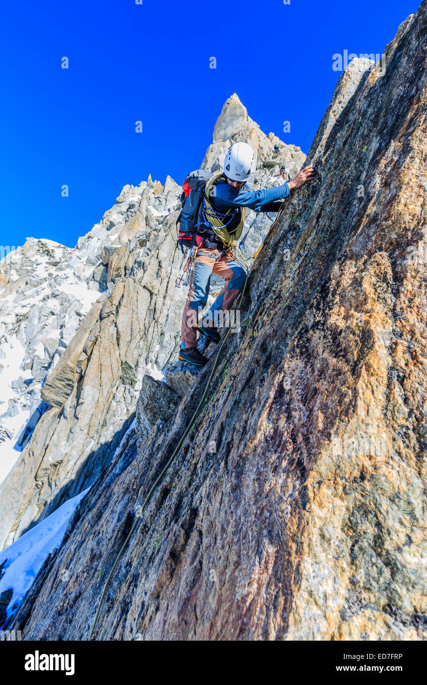 Mountaineers during the ascent of the southern summit of Aiguille du Tour, Mont Blanc massif, Alps, Canton of Valais Stock Photo