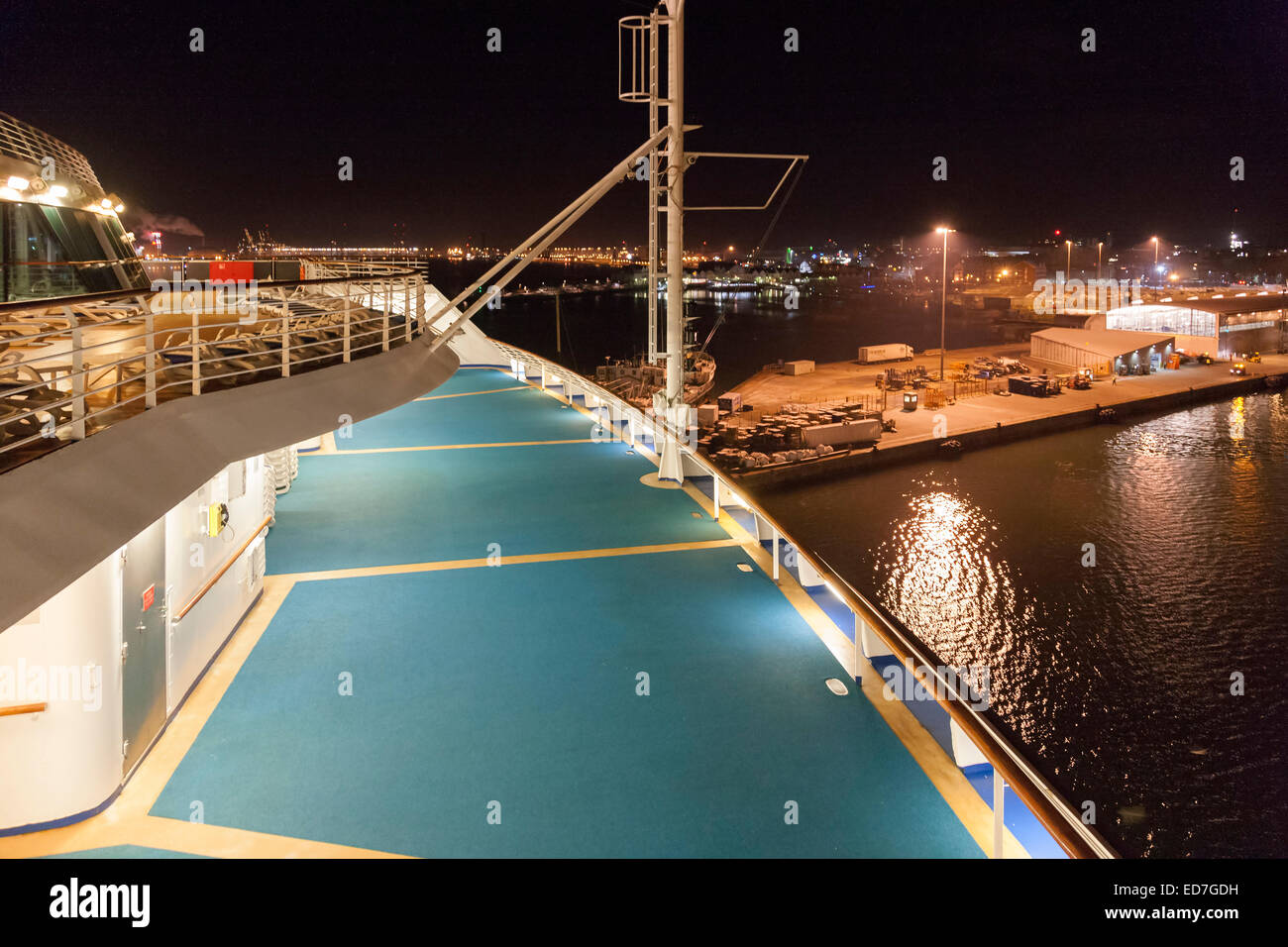 Southampton Docks as seen from the deck of a  cruise ship. - Stock Image