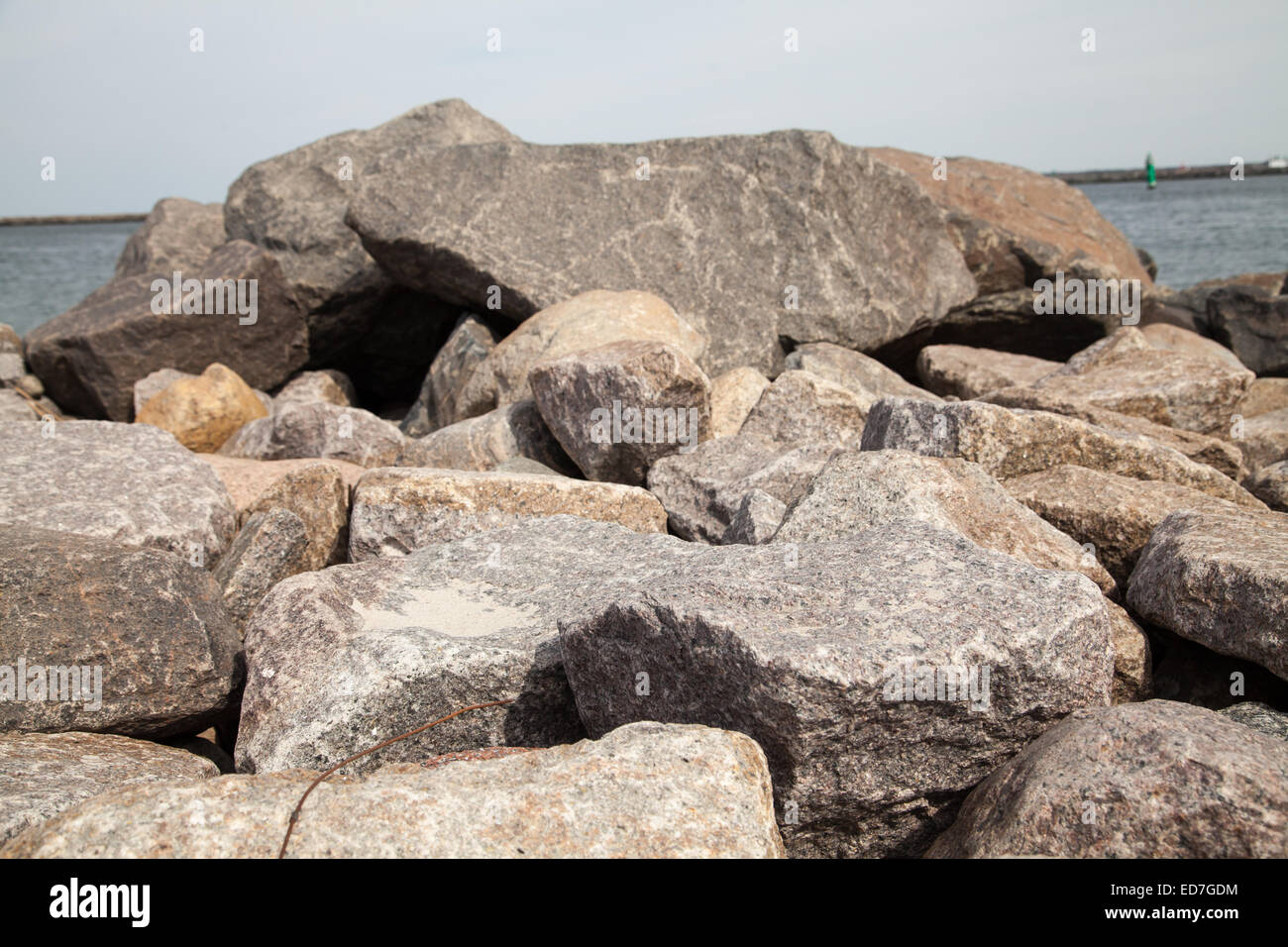 stone background at baltic sea - Stock Image