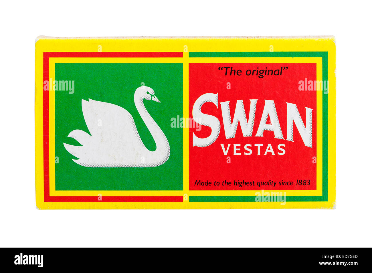 A box of Swan Vesta matches on a white background - Stock Image