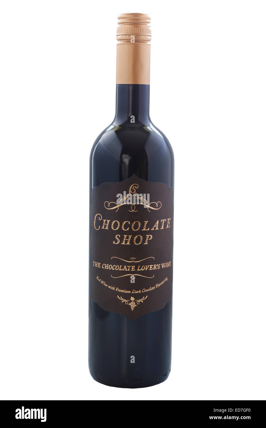 A bottle of Chocolate Shop wine on a white background - Stock Image