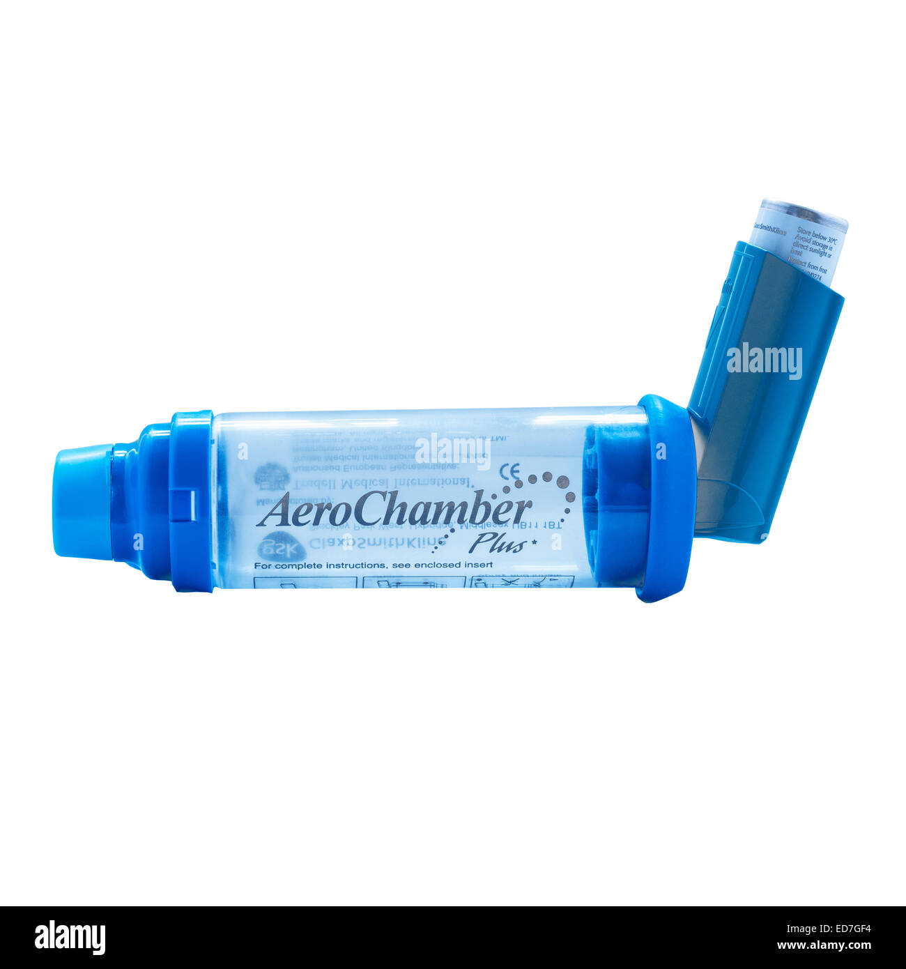 A Aero Chamber plus spacer for an asthma inhaler making it easier to inhale on a white background - Stock Image
