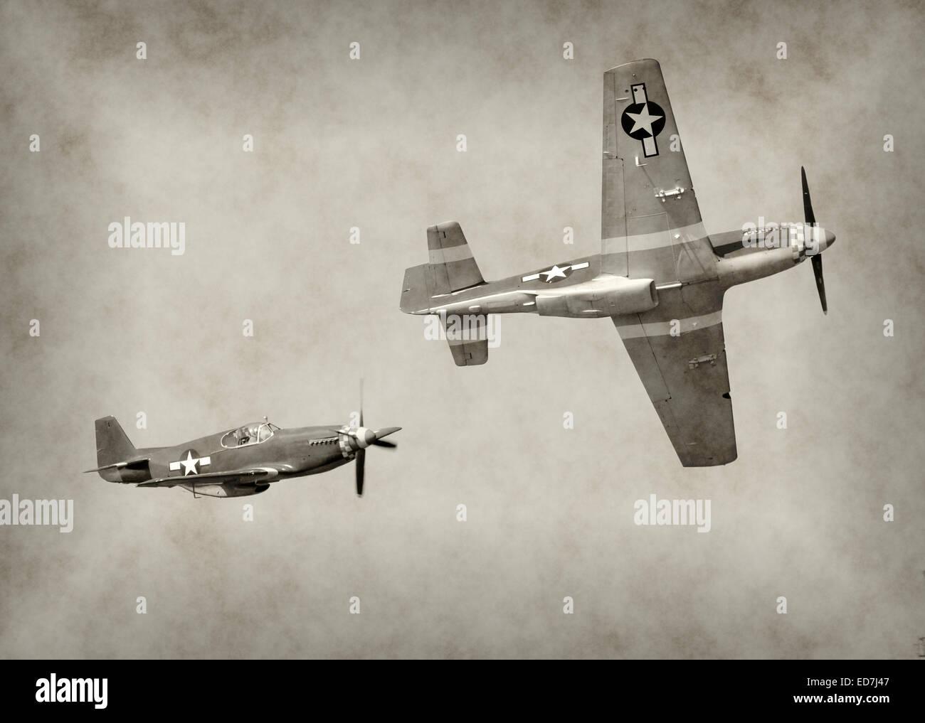 World War II fighter airplanes in flight - Stock Image