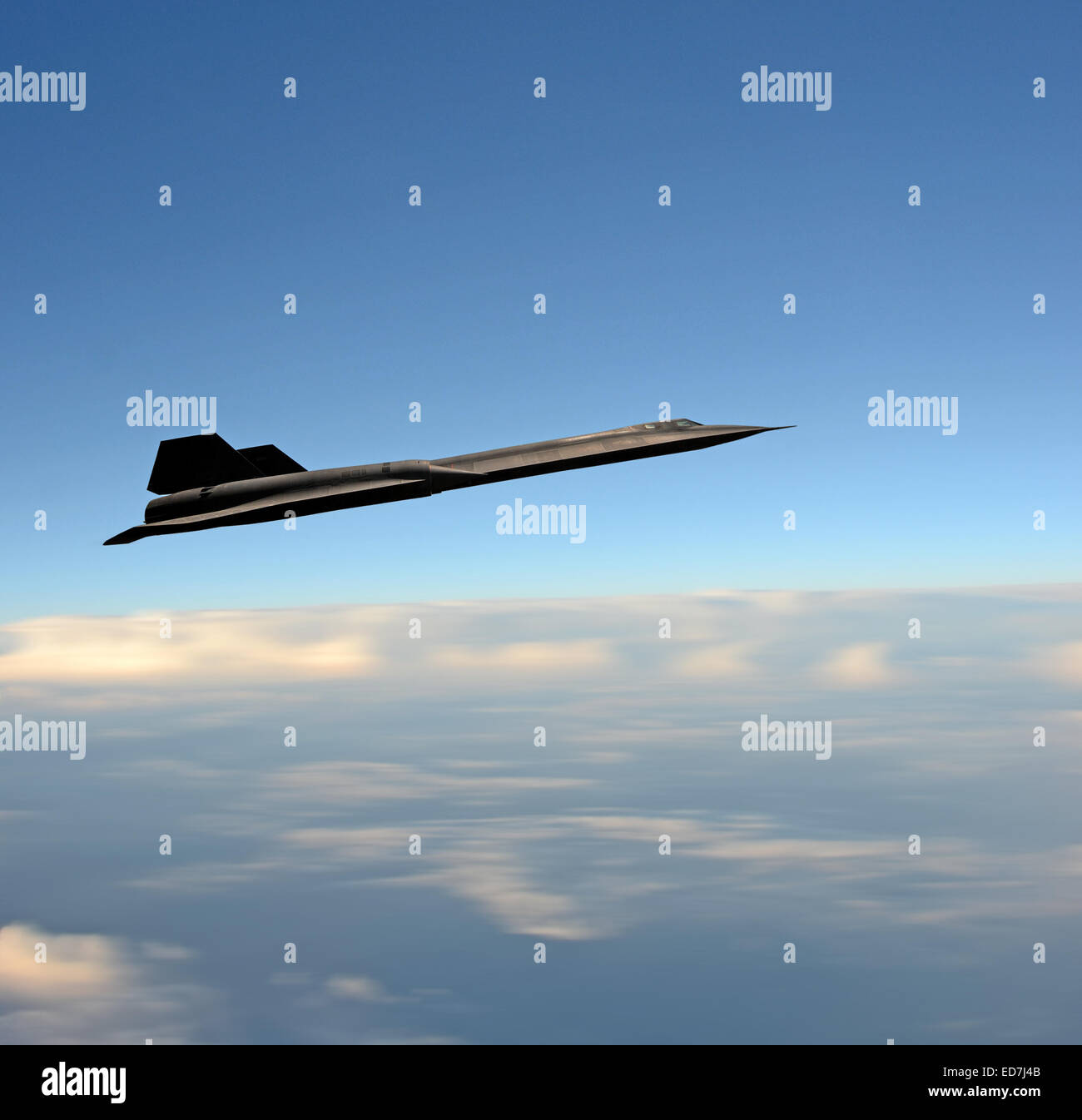 High flying SR-71 Blackbird reconnaissance spy airplane on a mission - Stock Image