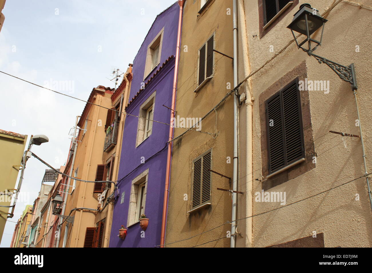Picture taken of tall houses in Sardinia/Italy - Stock Image