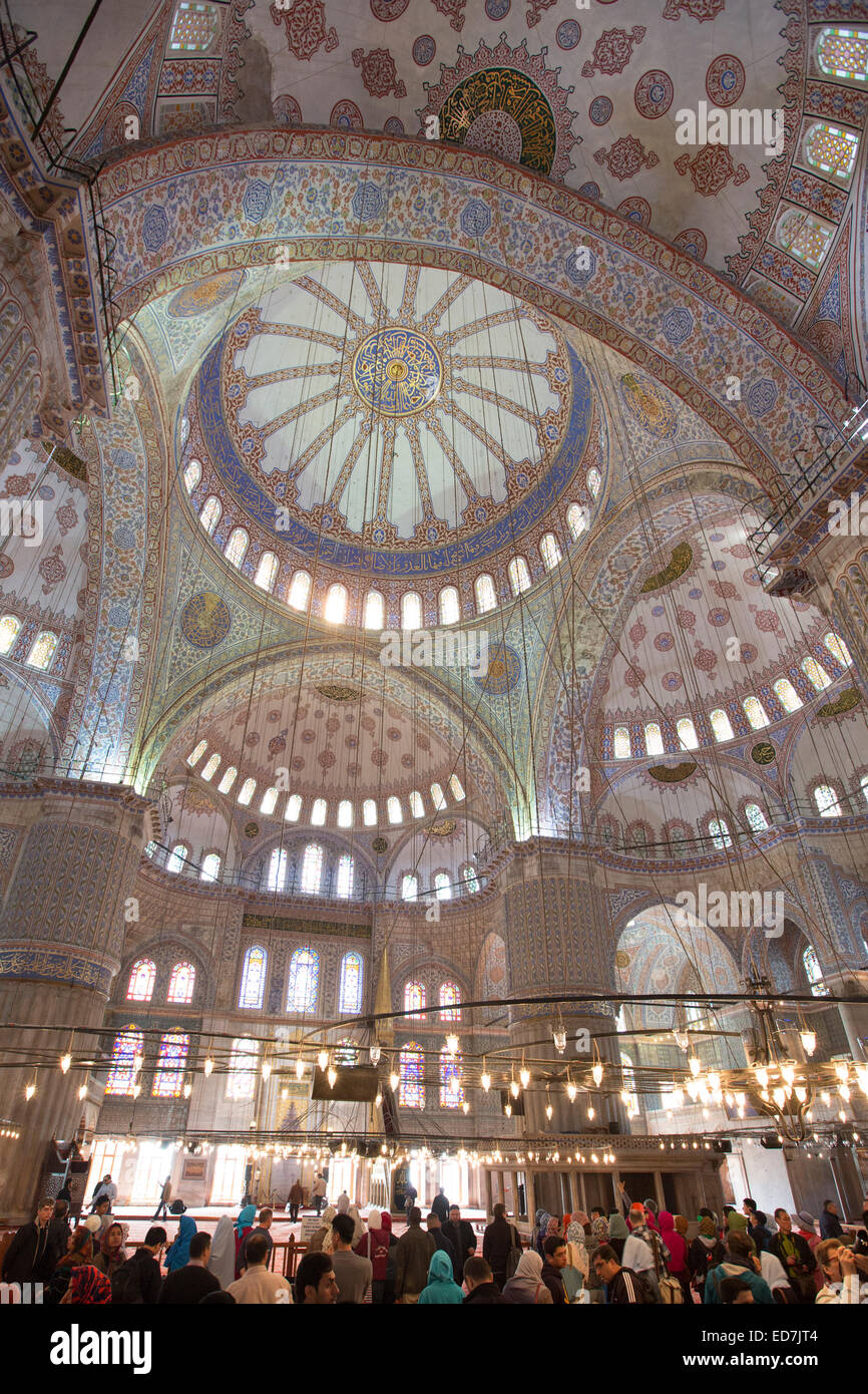 Tourists view domes of the Blue Mosque, Sultanahmet Camii or Sultan Ahmed Mosque 17th Century in Istanbul, Turkey - Stock Image