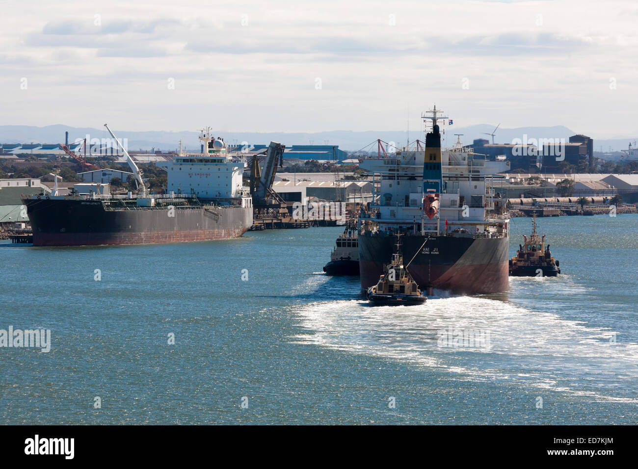 Bulkcarrier vessel arriving to load coal from the mines of the Hunter Valley Newcastle NSW Australia - Stock Image