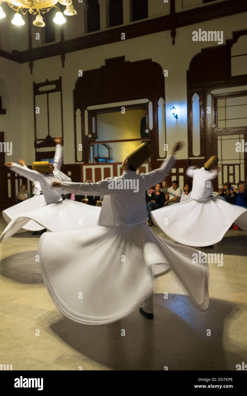 Whirling Dervish dance performance - Mevlevi Sema - spiritual ceremony (whirling dervishes) in Istanbul, Republic - Stock Image