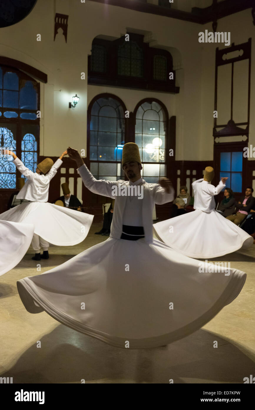 Whirling Dervish dance performance - Mevlevi Sema - costume ceremony (whirling dervishes) in Istanbul, Republic - Stock Image
