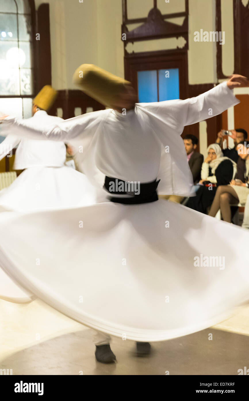 Tourists at Whirling Dervish ayin music performance - Mevlevi Sema - ceremony (whirling dervishes), Istanbul, Republic Stock Photo