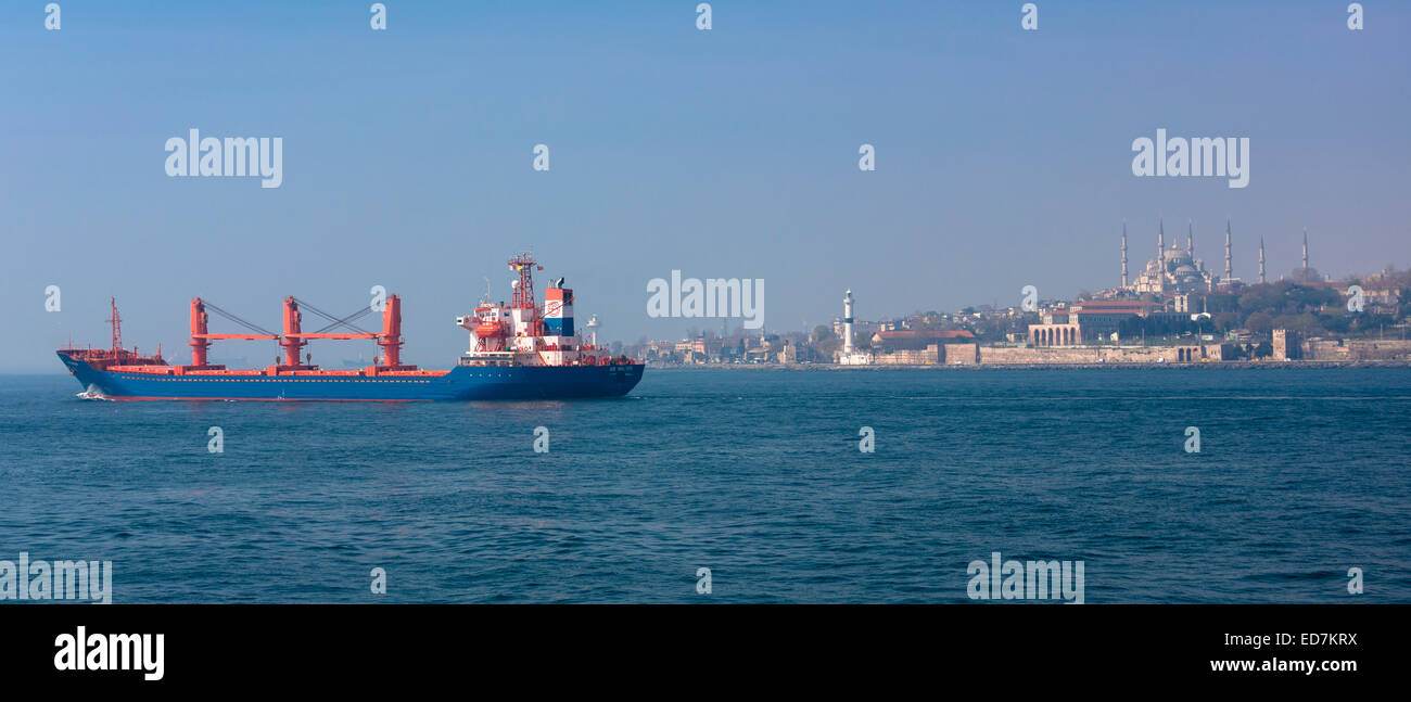 Bulk carrier freight ship in the River Bosphorus  and Sea of Marmara in Istanbul, Republic of Turkey - Stock Image