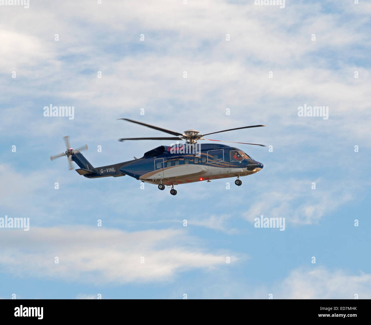 Bond Helibus North Sea Oil Offshore helicopter G-VINL returning to Aberdeen Dyce Airport, Scotland.  SCO 9386. - Stock Image