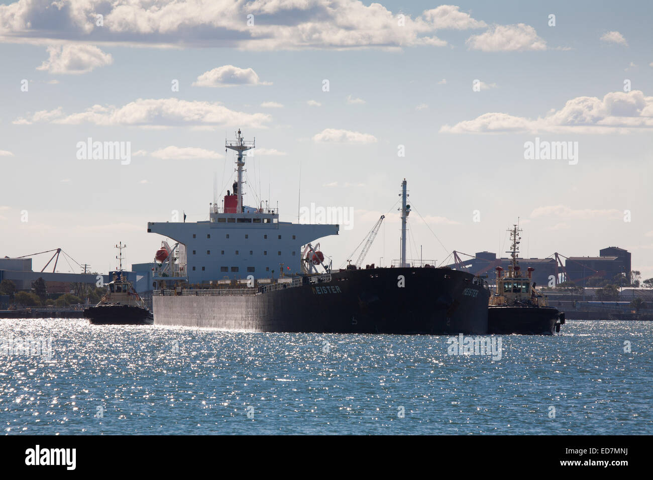 Bulk carrier Mesiter fully loaded with coal from the Hunter Valley coal mines is heading for South Korea Newcastle - Stock Image