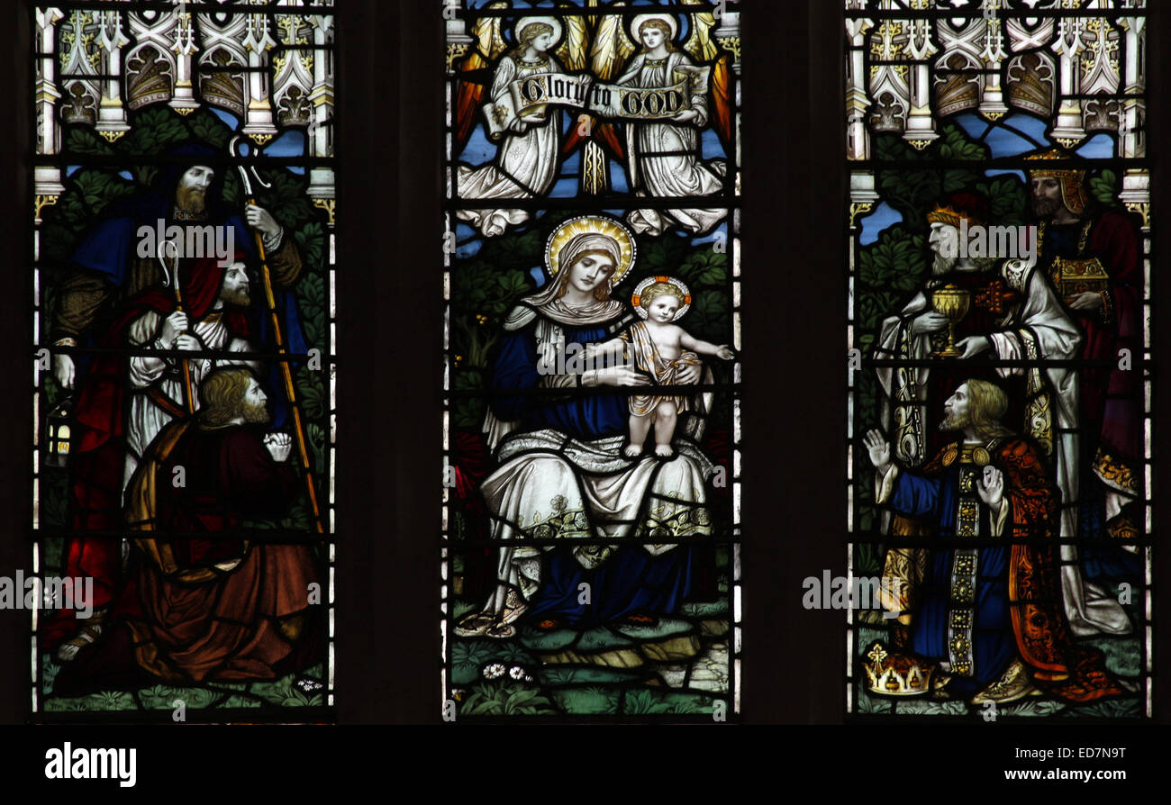 Stained glass window depicting xxxx, Canons Ashby Priory Church, Northamptonshire - Stock Image