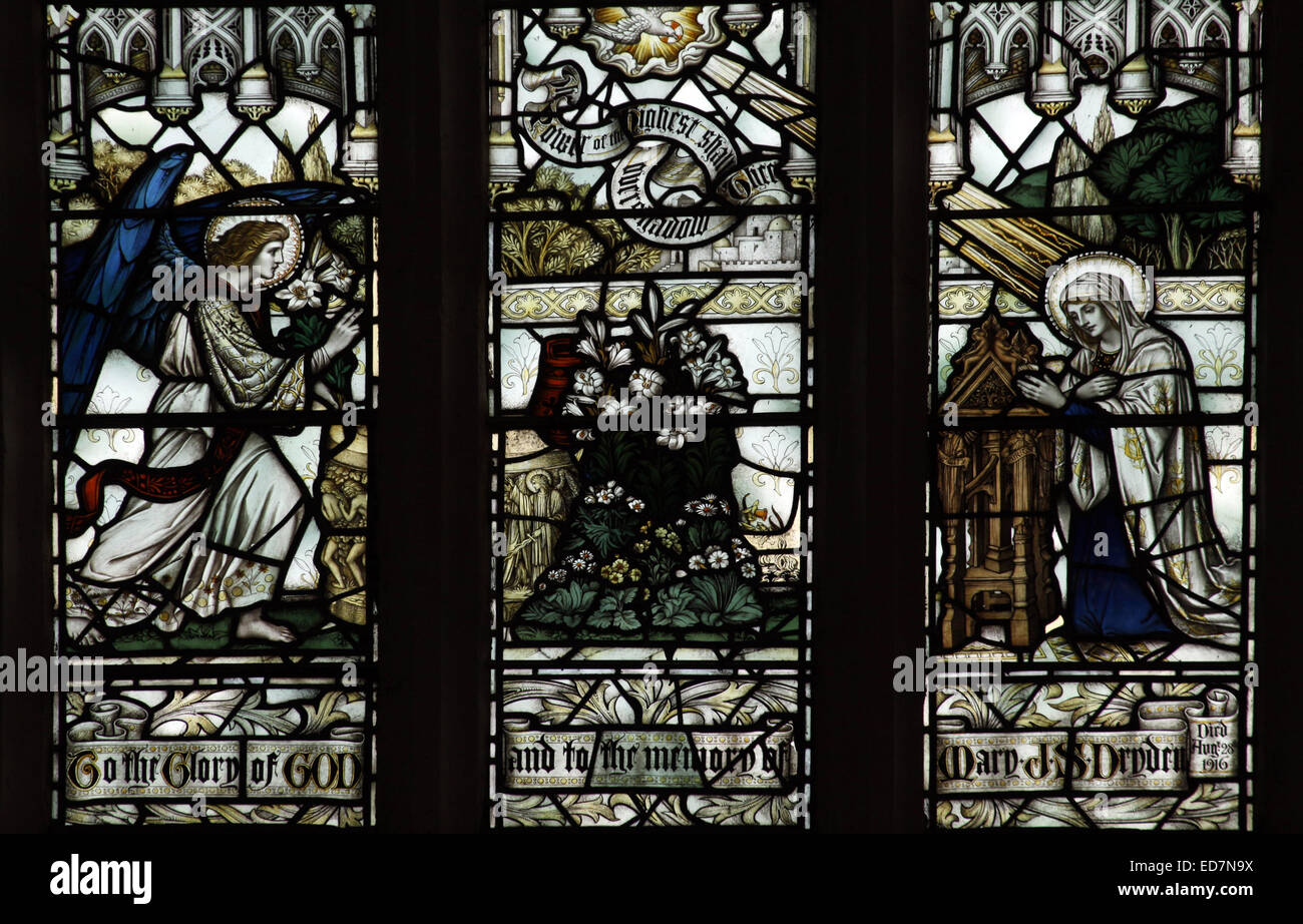 Stained glass window depicting The Annunciation, Canons Ashby Priory Church, Northamptonshire - Stock Image