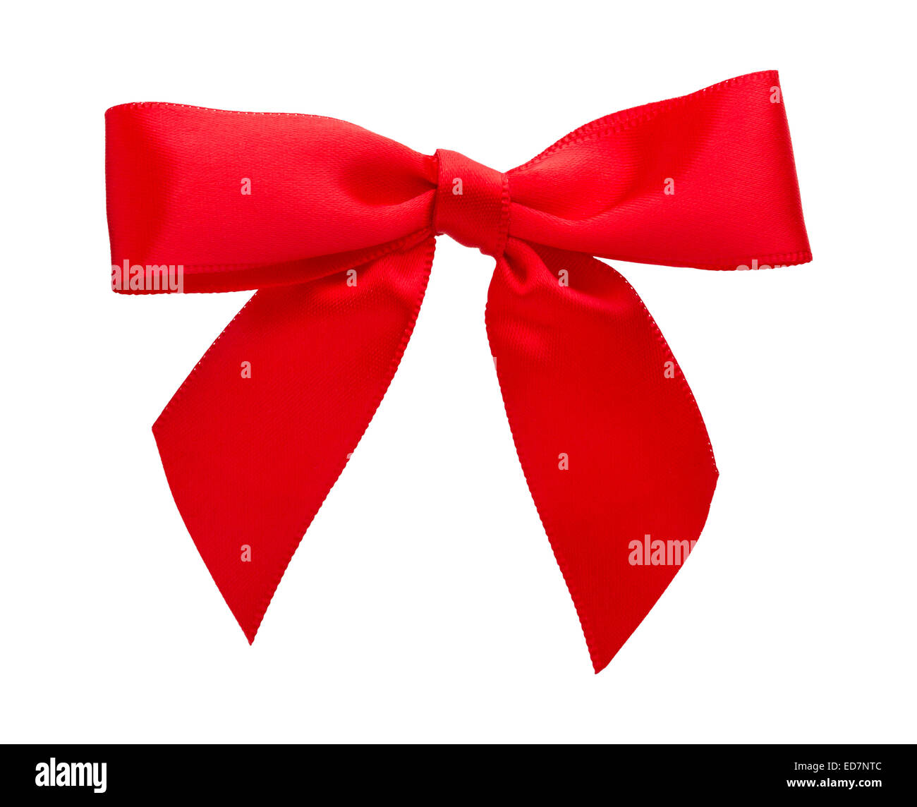 Bright Red Bow isolated on white. - Stock Image