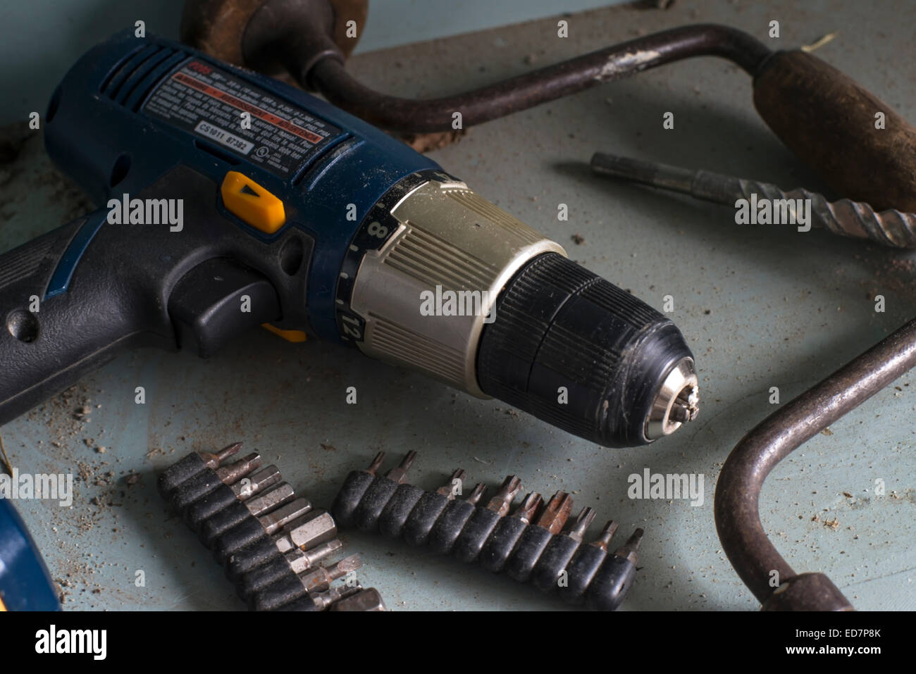 Old cordless drill that's no longer used - Stock Image