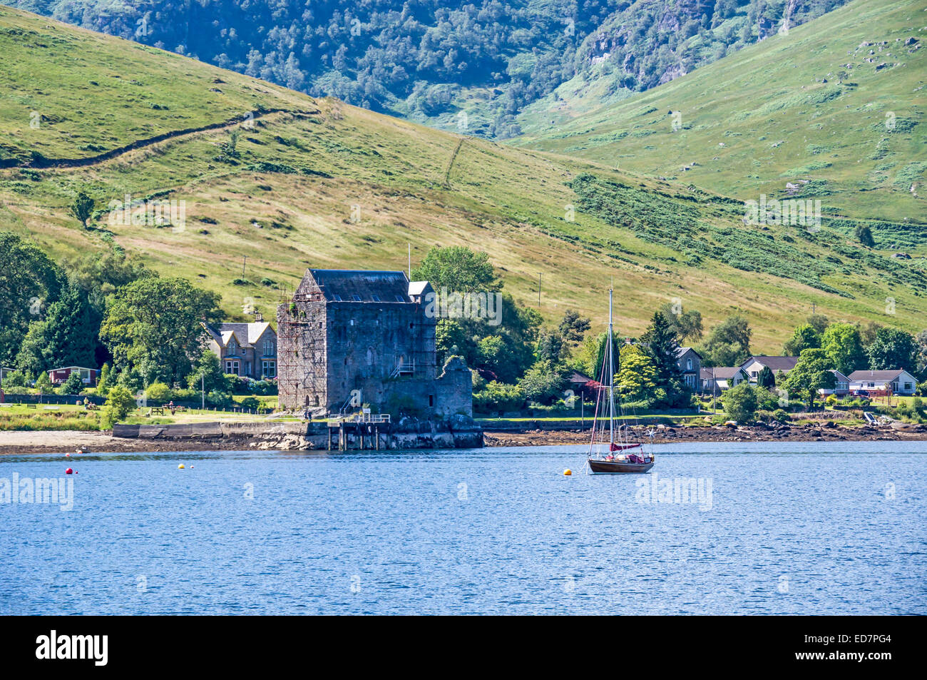 Carrick Castle on the shore of Loch Goil in Argyll and Bute Scotland - Stock Image