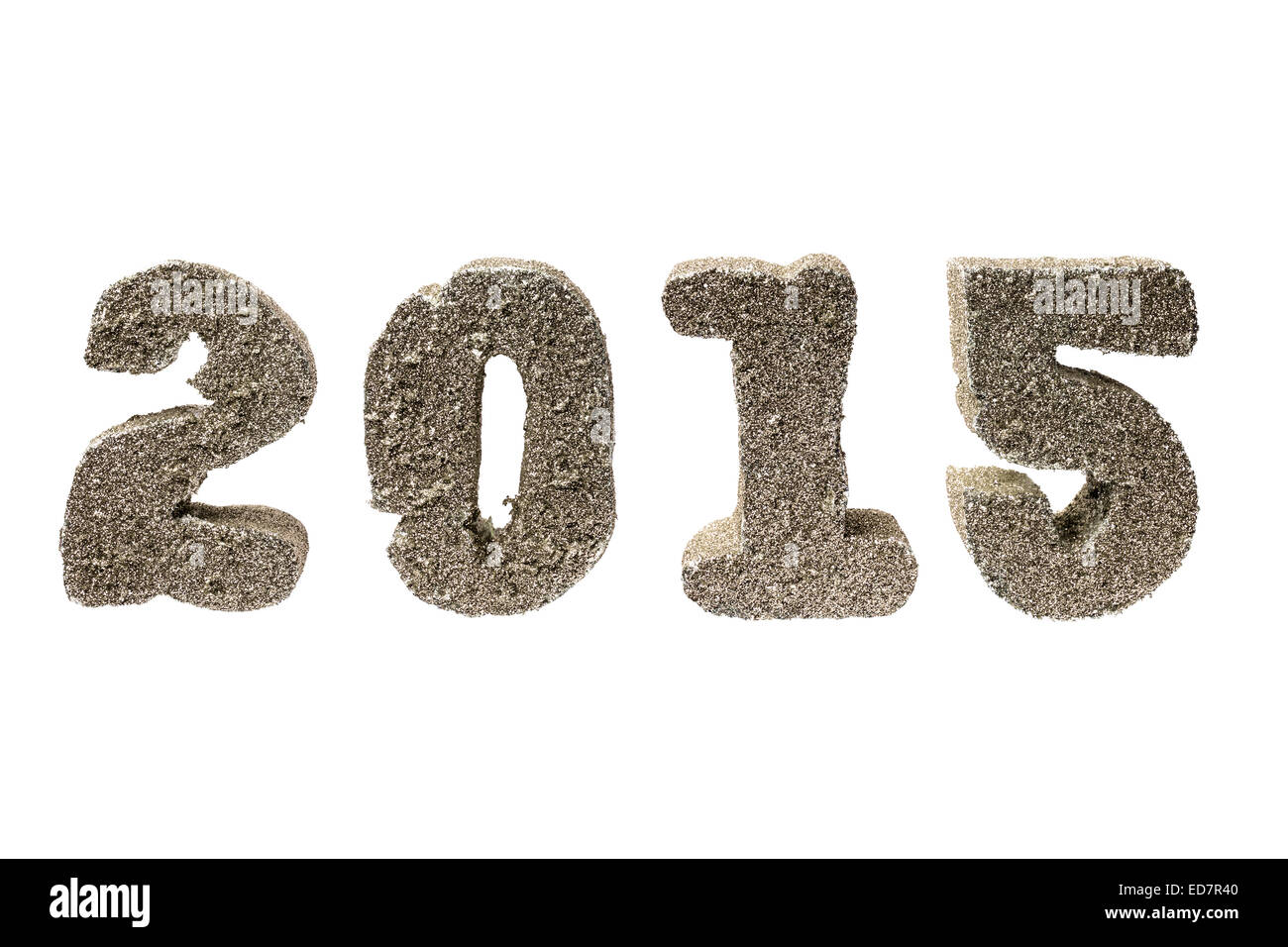 New Year 2015 golden digits - isolated on white - Stock Image