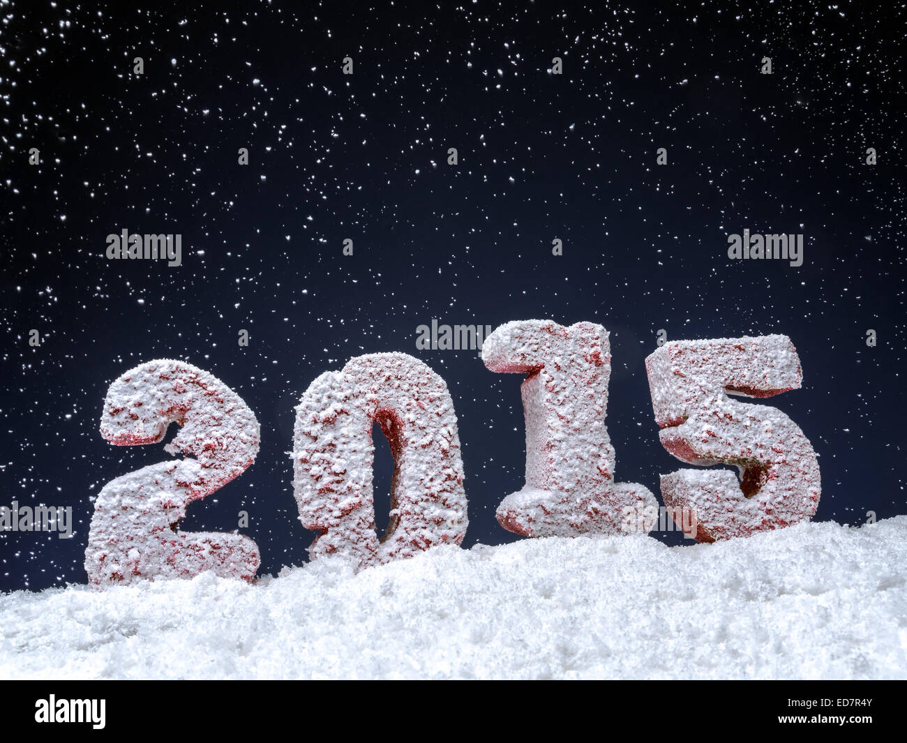 Frosted 2015 New Year digits over dark blue background - Stock Image