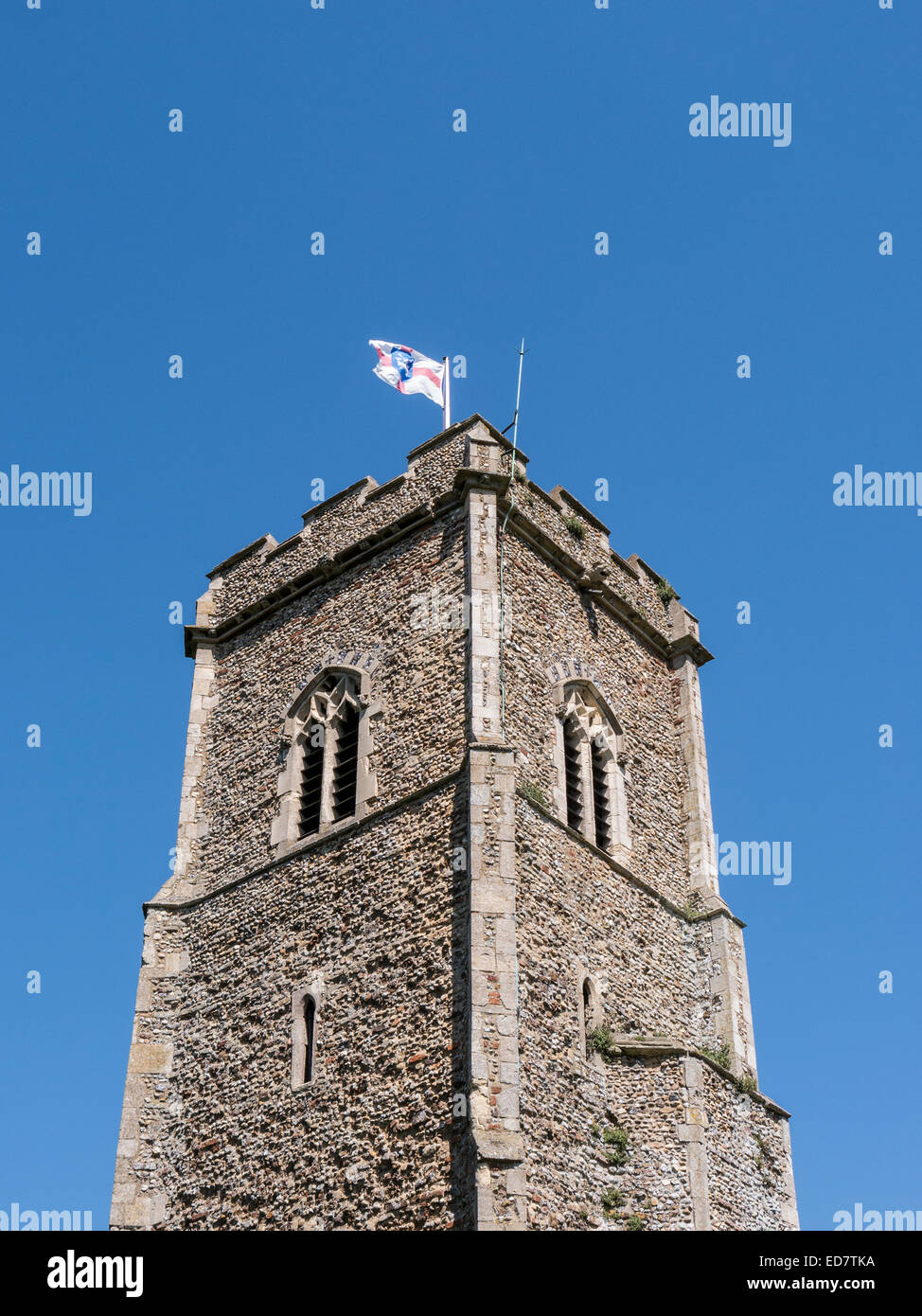 The tower of the Church of St Margaret of Antioch in the picturesque village of Shottisham, Suffolk. - Stock Image