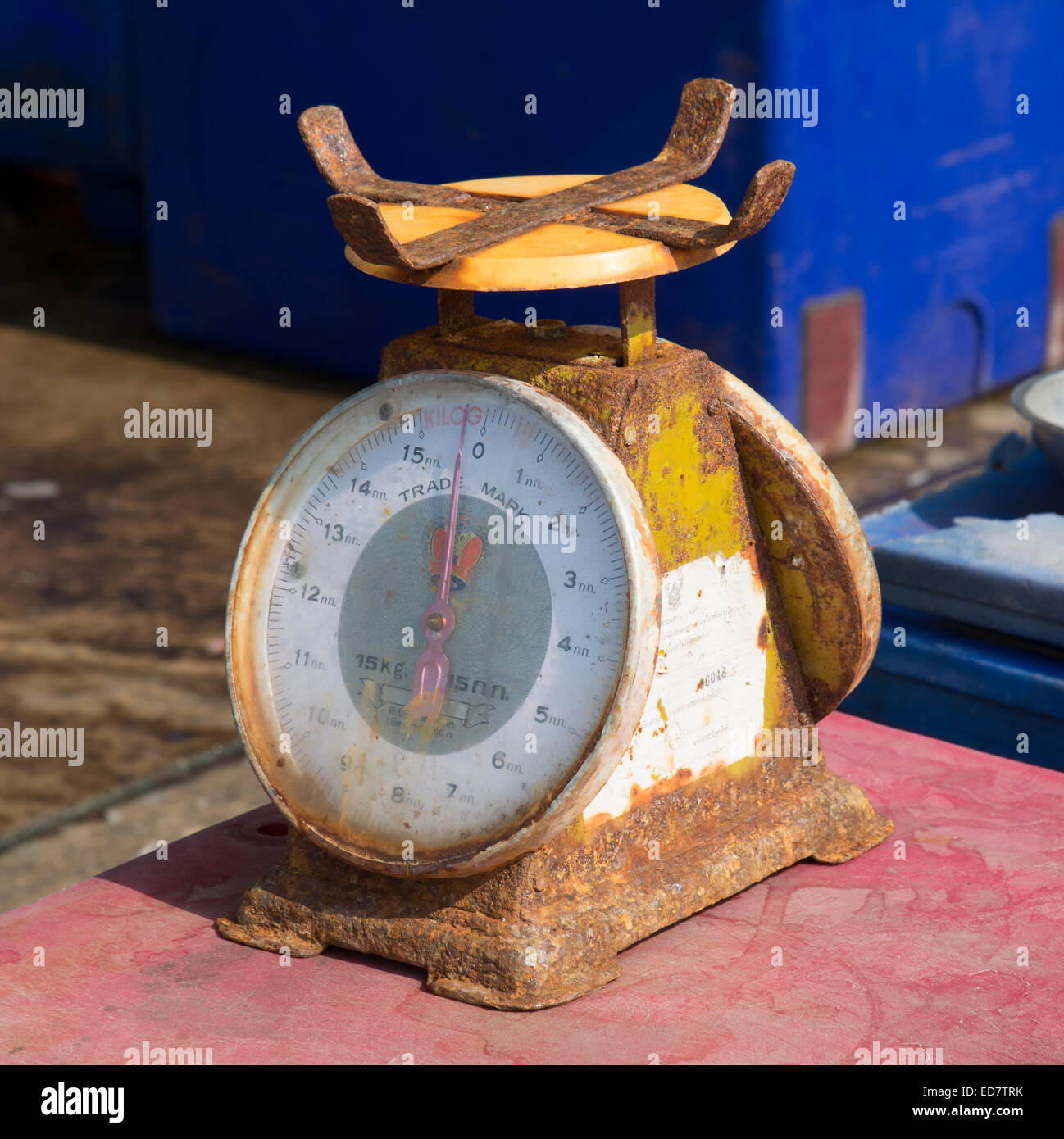 Rusting metal scales in use in a fish market at Hua Hin Thailand Asia Stock Photo